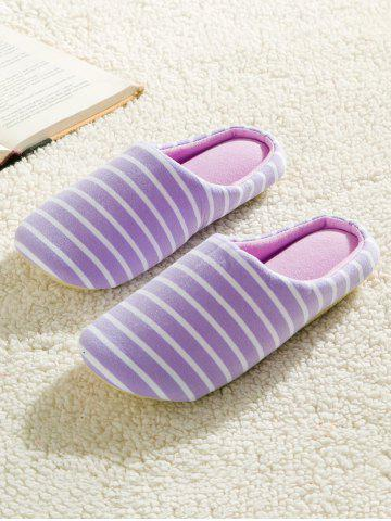 Chic Sweet Color Stripe Indoor Slippers - 39 PURPLE Mobile