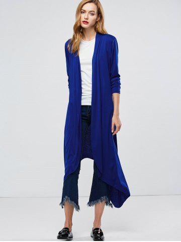 Cheap Longline Collarless Maxi Duster Coat - L BLUE Mobile