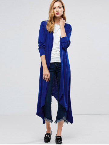 Best Longline Collarless Maxi Duster Coat - L BLUE Mobile