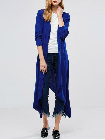 New Longline Collarless Maxi Duster Coat - L BLUE Mobile