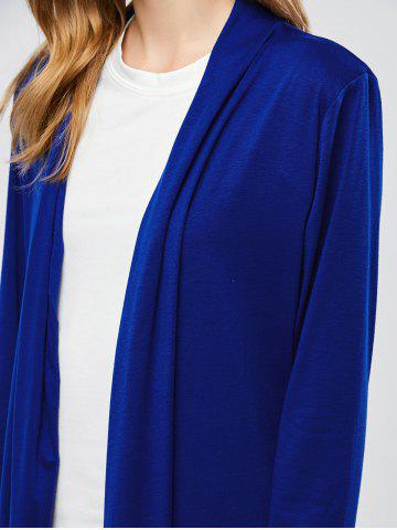 Affordable Longline Collarless Maxi Duster Coat - M BLUE Mobile