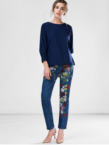 Cheap Floral Embroidered Ankle Jeans - L BLUE Mobile