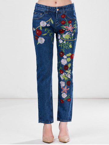 Trendy Floral Embroidered Ankle Jeans - L BLUE Mobile