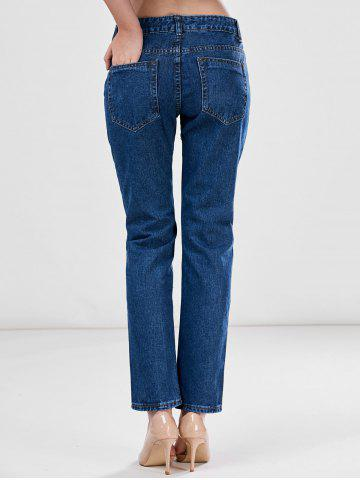 Fashion Floral Embroidered Ankle Jeans - L BLUE Mobile