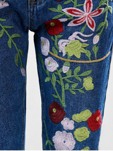 Affordable Floral Embroidered Ankle Jeans - L BLUE Mobile