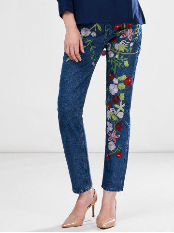 Shop Floral Embroidered Ankle Jeans BLUE S