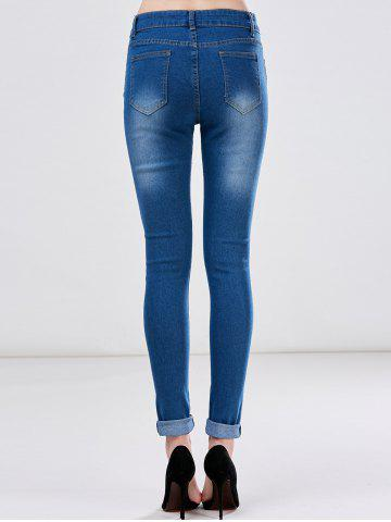 New High Waist Skinny Ripped Jeans - XL DEEP BLUE Mobile