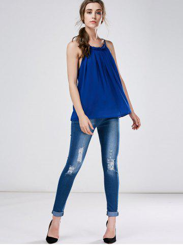 Trendy High Waist Skinny Ripped Jeans - XL DEEP BLUE Mobile