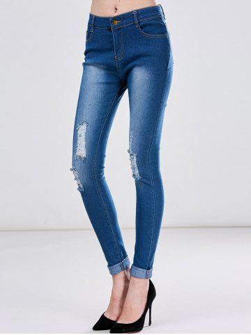 Affordable High Waist Skinny Ripped Jeans - XL DEEP BLUE Mobile