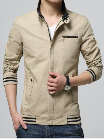Outfit Striped Rib Insert Pocket Zippered Jacket