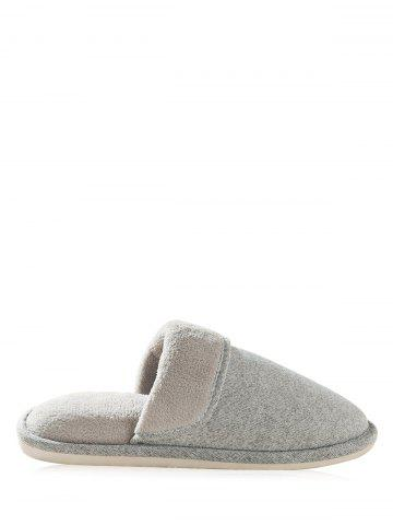 Outfits Cotton Fabric Flocking House Slippers - SIZE(41-42) GRAY Mobile