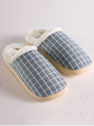 Store Checked Flocking House Slippers - SIZE(42-43) STONE BLUE Mobile