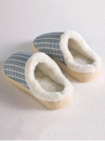 Hot Checked Flocking House Slippers - SIZE(40-41) STONE BLUE Mobile