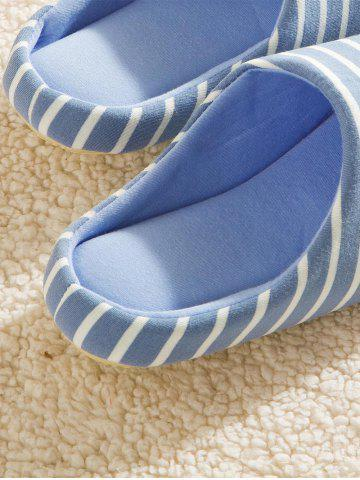 Store Striped Cotton Fabric House Slippers - 41 AZURE Mobile