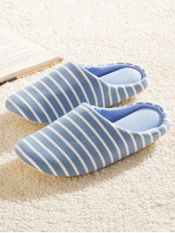 Store Striped Cotton Fabric House Slippers - 42 AZURE Mobile