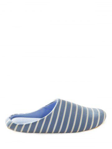 Store Striped Cotton Fabric House Slippers - 40 AZURE Mobile