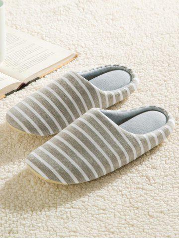 Outfit Striped Cotton Fabric House Slippers - 43 GRAY Mobile