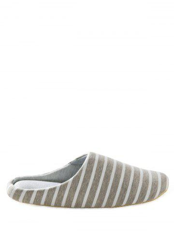 Outfit Striped Cotton Fabric House Slippers GRAY 41