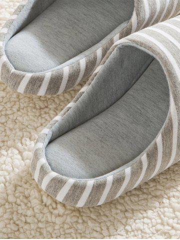 Outfits Striped Cotton Fabric House Slippers - 42 GRAY Mobile