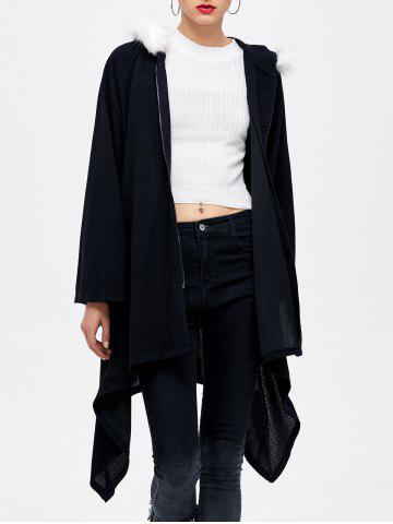 Outfit Zipper Up Hooded Asymmetrical Coat