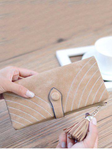 Outfit Faux Suede Tassels Checkbook Wallet - LIGHT COFFEE  Mobile