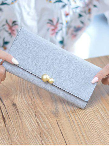 Affordable Textured PU Leather Tri Fold Wallet - BLUE GRAY  Mobile