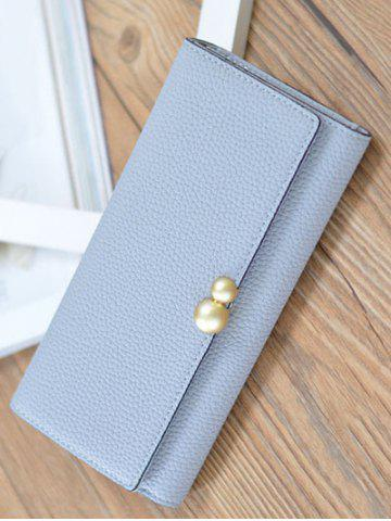 Fancy Textured PU Leather Tri Fold Wallet - BLUE GRAY  Mobile