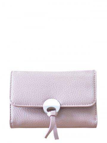 Fancy Faux Leather Tri Fold Small Wallet - PINK  Mobile