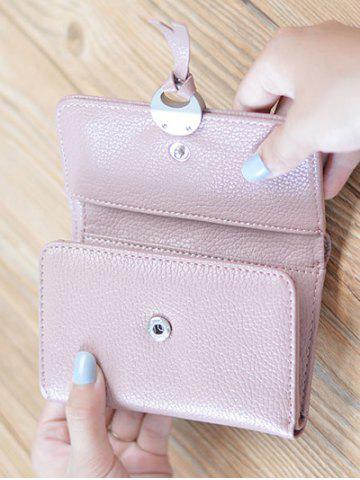 Unique Faux Leather Tri Fold Small Wallet - PINK  Mobile