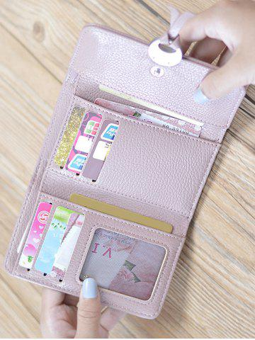 Discount Faux Leather Tri Fold Small Wallet - PINK  Mobile