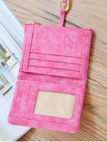 Discount Faux Leather Bi Fold Small Wallet - ROSE RED  Mobile
