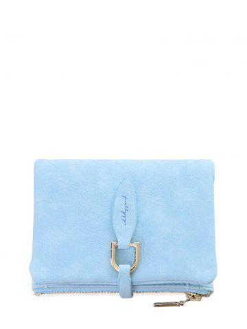 Discount Faux Leather Bi Fold Small Wallet - BLUE  Mobile