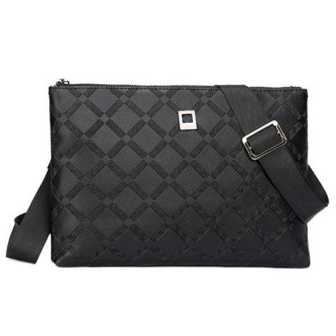 Affordable Faux Leather Embossed Clutch Bag - BLACK  Mobile