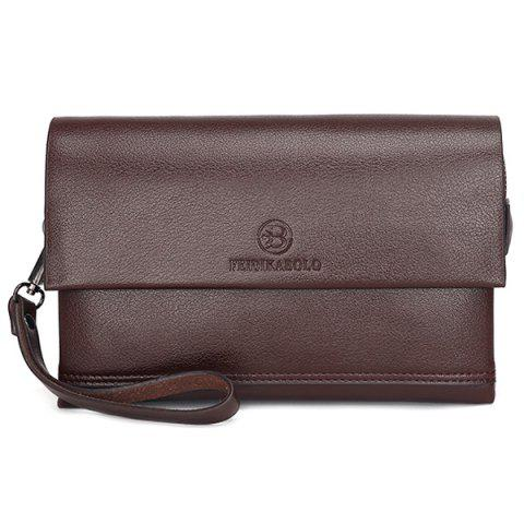 Shop Faux Leather Flapped Clutch Bag - COFFEE  Mobile