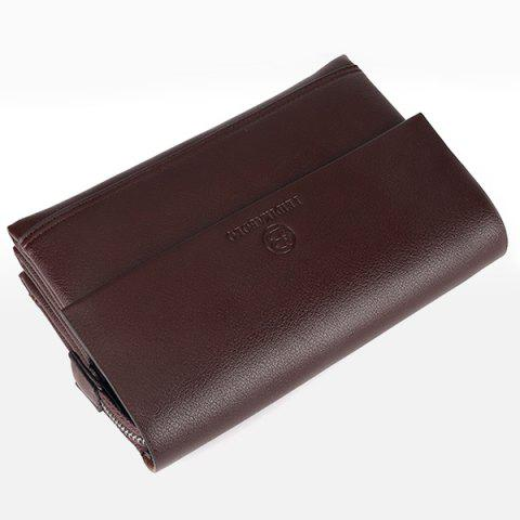 Chic Faux Leather Flapped Clutch Bag - COFFEE  Mobile
