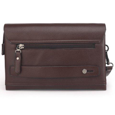 Latest Faux Leather Flapped Clutch Bag - COFFEE  Mobile