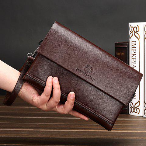 Sale Faux Leather Flapped Clutch Bag - COFFEE  Mobile