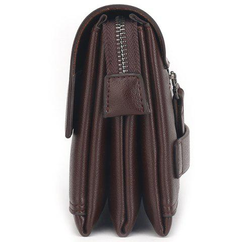 Outfits Faux Leather Flapped Clutch Bag - COFFEE  Mobile