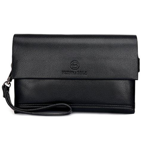 Sale Faux Leather Flapped Clutch Bag - BLACK  Mobile