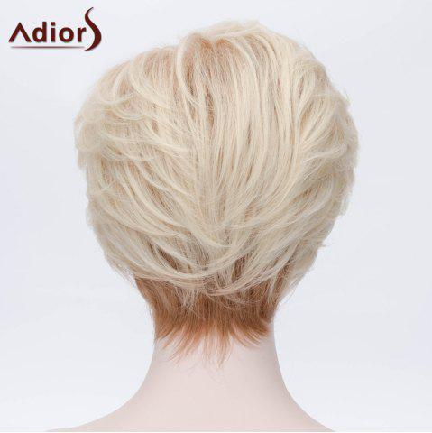 Cheap Adiors Short Layered Shaggy Side Bang Straight Synthetic Wig - LIGHT GOLD  Mobile