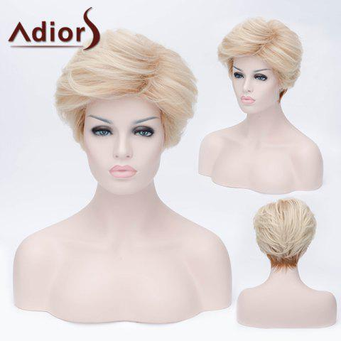 Outfits Adiors Short Layered Shaggy Side Bang Straight Synthetic Wig - LIGHT GOLD  Mobile