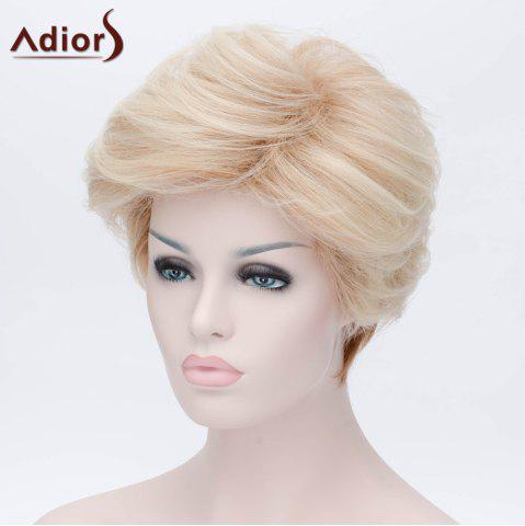 Hot Adiors Short Layered Shaggy Side Bang Straight Synthetic Wig - LIGHT GOLD  Mobile