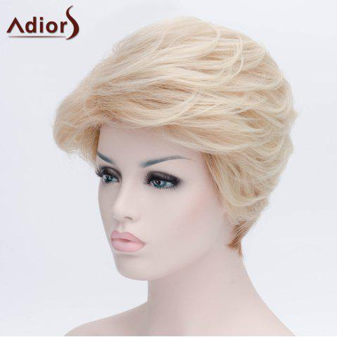 Fashion Adiors Short Layered Shaggy Side Bang Straight Synthetic Wig - LIGHT GOLD  Mobile