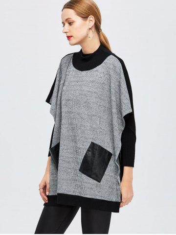 Chic Batwing Sleeve Two Tone Tee