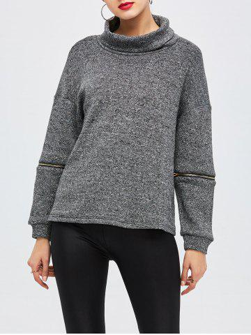 Shop Zipper Turtleneck Pullover Sweater