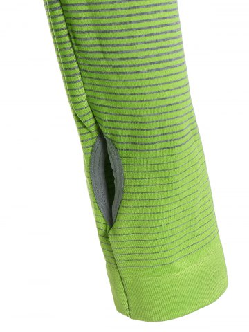 Hot Ombre Long Sleeve Running Gym Top With Thumb Hole - L NEON GREEN Mobile