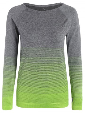 Fancy Ombre Long Sleeve Running Gym Top With Thumb Hole - L NEON GREEN Mobile