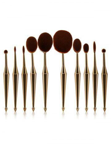 10 Pcs Oval Toothbrush Mermaid Shape Makeup Brushes Set - GOLDEN