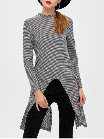 Discount High Slit Pinstriped Tee