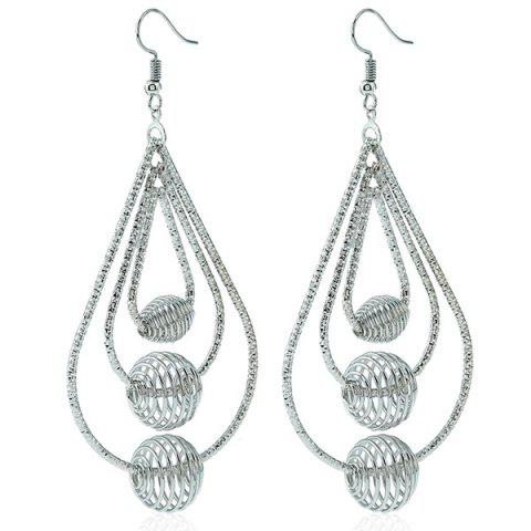 Spiral Beads Layered Hollowed Drop Earrings - Silver - W40inch*l79inch